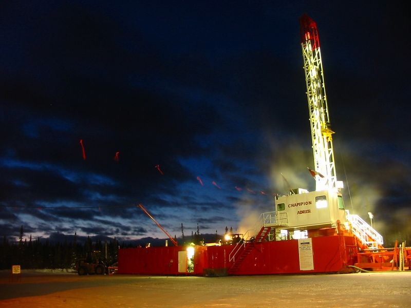 Oil drilling rig, northern British Columbia, Canada