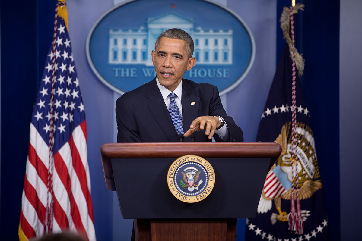 President Barack Obama holds a press conference in the James S. Brady Press Briefing Room of the White House, Dec. 19, 2014. (Official White House Photo by Lawrence Jackson)