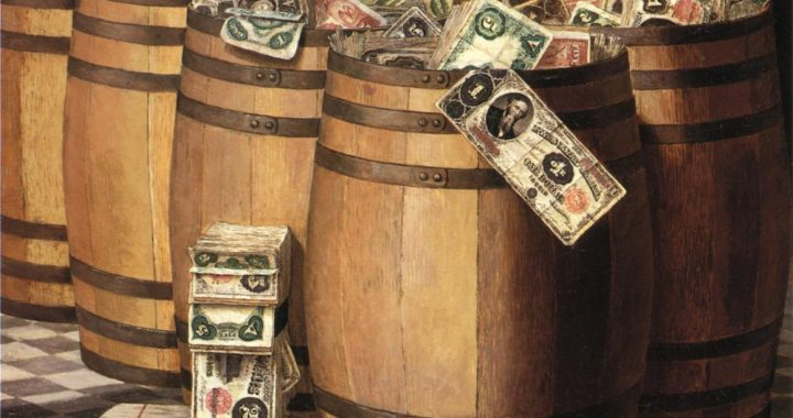 Victor_Dubreuil_-_Barrels_on_Money,_c._1897_oil_on_canvas